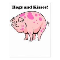 Hogs and Kisses Cute Pig Hog Cartoon Postcard
