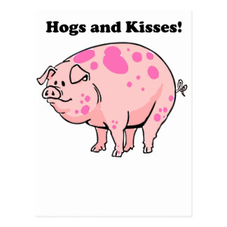 Hogs and Kisses Cute Pig Hog Cartoon Postcard