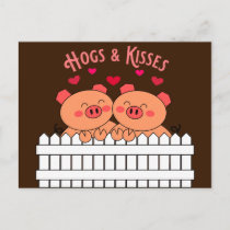 Hogs and Kisses Pigs Love Post Card