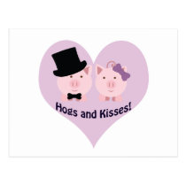 Hogs and kisses! postcard