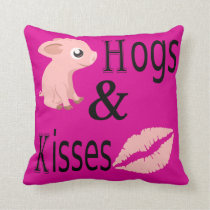 Hogs and Kisses Throw Pillow