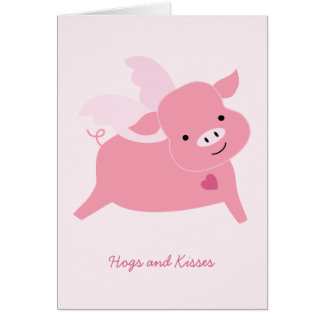 Hogs and Kisses Valentine's Day Card