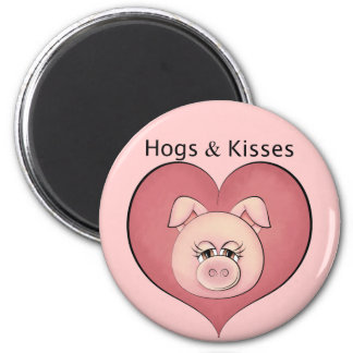 Hogs & Kisses 2 Inch Round Magnet