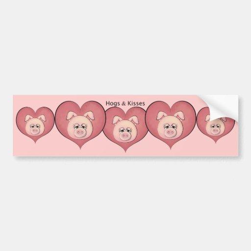Hogs & Kisses Bumper Stickers