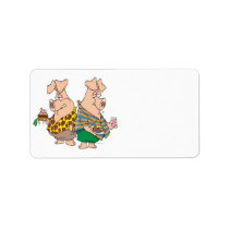 hogs pig out pigs funny cartoon label