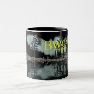 Hoguera de la aurora de BWCA Minnesota Taza De Café De Dos Colores