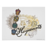 Hogwarts Logo and Professors 2 Poster