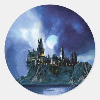 Hogwarts por claro de luna etiquetas redondas