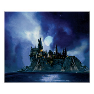 Hogwarts por claro de luna póster