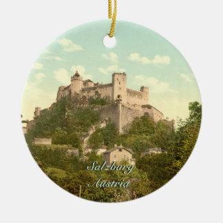 Hohensalzburg Castle II, Salzburg, Austria Double-Sided Ceramic Round Christmas Ornament