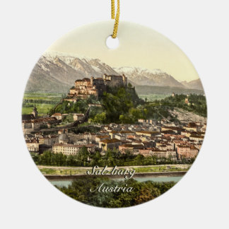 Hohensalzburg Castle, Salzburg, Austria Double-Sided Ceramic Round Christmas Ornament