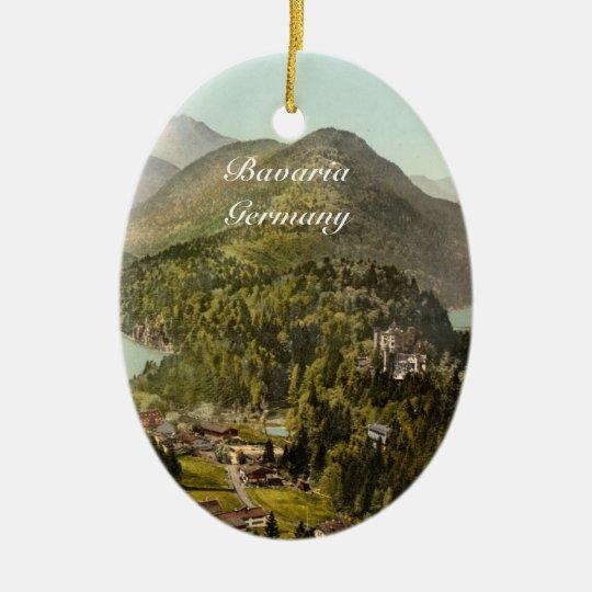 Hohenschwangau Castle and Alps, Bavaria, Germany Ceramic Ornament
