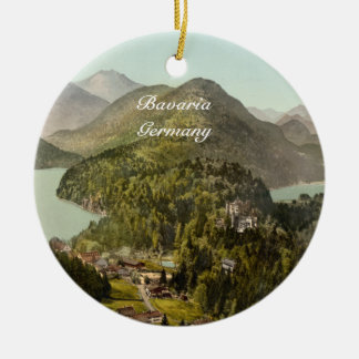Hohenschwangau Castle and Alps, Bavaria, Germany Double-Sided Ceramic Round Christmas Ornament