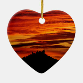 Hohenzollernburg with beautiful evening-red, ceramic ornament