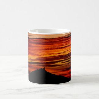 Hohenzollernburg with beautiful evening-red, coffee mug