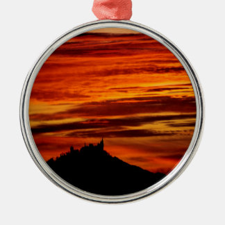 Hohenzollernburg with beautiful evening-red, metal ornament