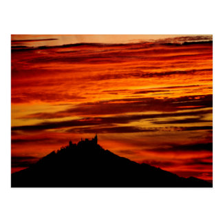 Hohenzollernburg with beautiful evening-red, postcard