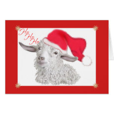 HoHoHo Angora Goat Christmas Card
