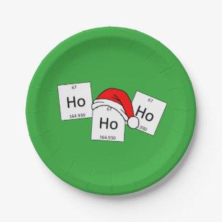 HoHoHo Holmium Chemistry Element Christmas Pun Paper Plate