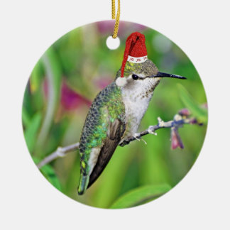 HoHoHo Hummingbird Ceramic Ornament
