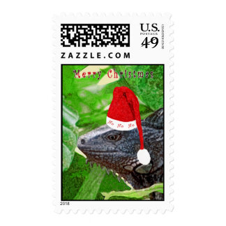 HoHoHo Iguana Postage Stamp