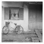 Hoi An Vietnam, House with Bicycle Large Square Tile