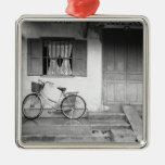 Hoi An Vietnam, House with Bicycle Square Metal Christmas Ornament