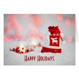 Hoilidays feliz con el saco de santa del navidad tarjeta de felicitación