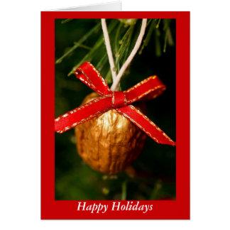 Hoilidays feliz con la nuez del navidad tarjeta de felicitación