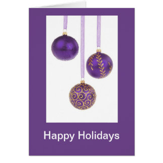 Hoilidays feliz con las chucherías púrpuras tarjeta de felicitación