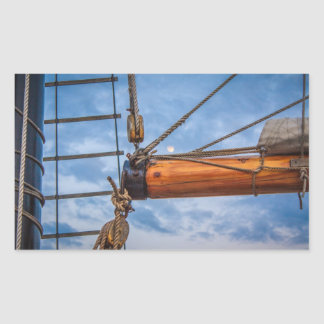 Hoist and Jib Sailing Boat Rectangular Sticker