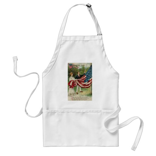 Hoisting the Flag on Memorial Day Adult Apron