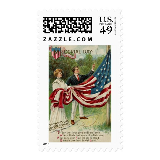Hoisting the Flag on Memorial Day Postage