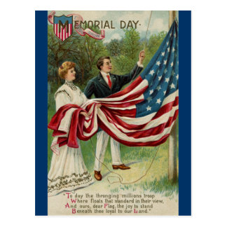 Hoisting the Flag on Memorial Day Postcard