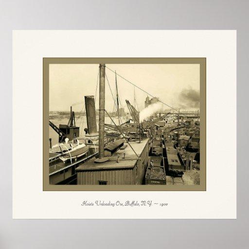 Hoists Unloading Ore, Buffalo, N.Y. ~ 1900 Poster