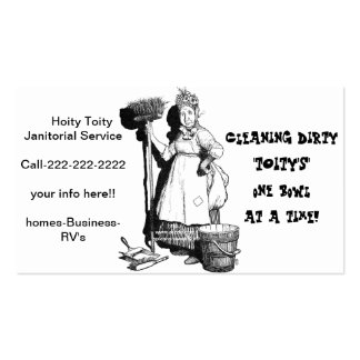 """Hoity Toity Janitorial"" Business Card Templates"