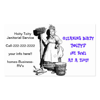 """Hoity Toity Janitorial"" Business Card Template"