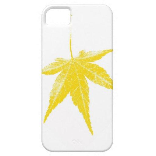 Hoja amarilla del otoño en blanco funda para iPhone SE/5/5s