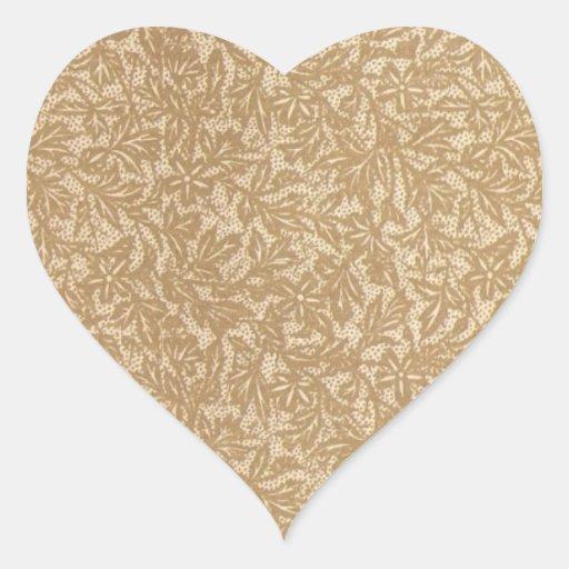 Hoja antigua pegatina en forma de corazón