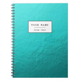 Hoja azul de la aguamarina ciánica impresa libros de apuntes con espiral