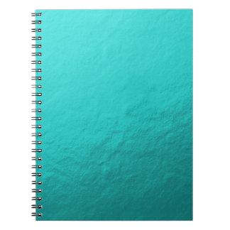 Hoja azul de la aguamarina ciánica impresa libreta espiral