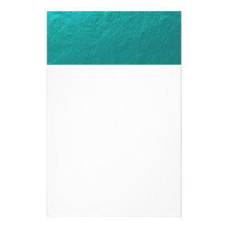 Hoja azul de la aguamarina ciánica impresa papelería personalizada