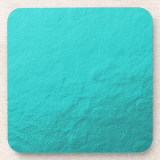 Hoja azul de la aguamarina ciánica impresa posavasos de bebida