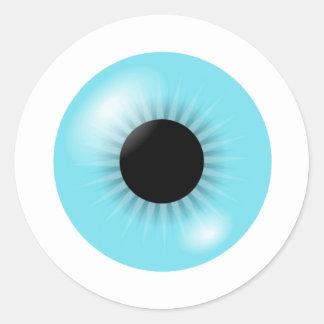 Hoja azul grande del pegatina del globo del ojo
