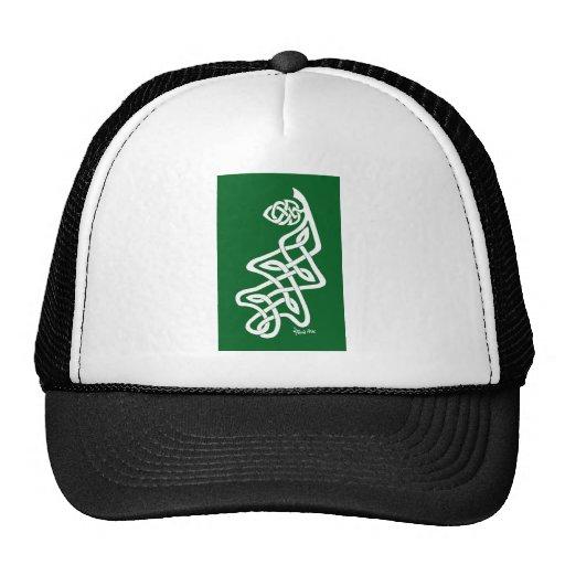 Hoja blanca del roble de Knotwork en verde Gorros Bordados