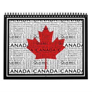Hoja canadiense con el fondo de la ciudad y de los calendario