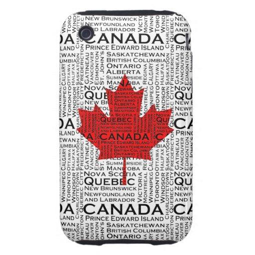 Hoja canadiense con el fondo de la ciudad y de los tough iPhone 3 cárcasa