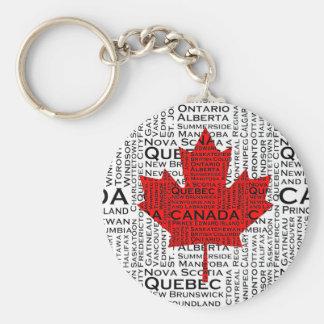 Hoja canadiense con el fondo de la ciudad y de los llavero redondo tipo pin