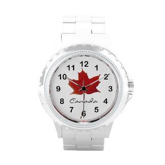 Hoja canadiense de la caída del arce de Rel Relojes De Pulsera