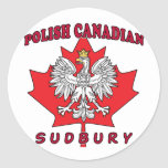 Hoja canadiense polaca de Sudbury Pegatinas Redondas